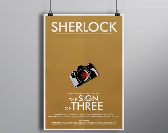 The Sign of Three // Minimalist Alternative Mystery Poster // Typography and Modern Camera Illustration with Blood stain