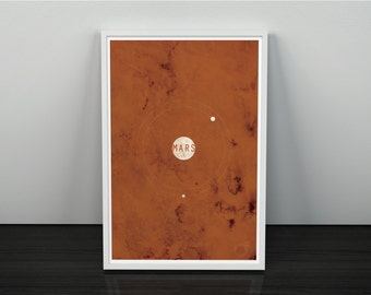 Mars and its Moons // Vintage Inspired, Minimalist Planetary Science Print // Rusty Red Textured or Clean Print with Planet Graphic