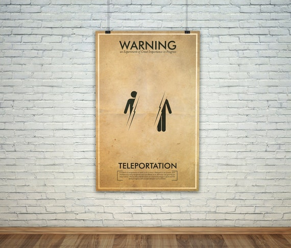 Teleportation  // Vintage Science Experiment Warning Poster // Finge Inspired Wall Art for the Budding Mad Scientist