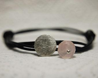 Sterling silver bracelet with pink quartz