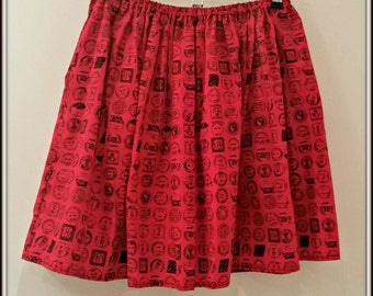 REDUCED - Pretty Old School Stamps Red Cotton Skirt