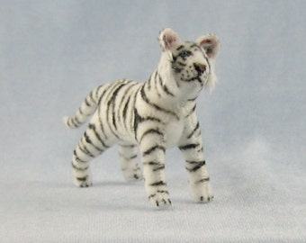 White Tiger Soft Sculpture Miniature Animal by Marie W. Evans