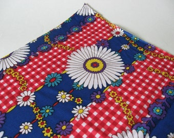 Two yards daisy gingham vintage lightweight nylon poly knit fabric material mod floral white blue red purple yellow