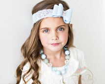 Girls Cinderella inspired necklace, Baby Headband, Cinderella Necklace, Cinderella Headband,  Bubblegum necklace, ChildrebChunky necklace