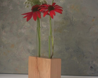 Test tube Vase, Flower vase, cherry wood, block, bud vase