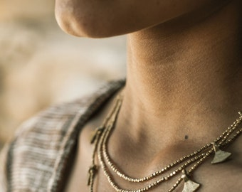 Tribal Brass Beaded Triangles Necklace ~