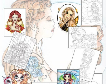Girls and Beasts Coloring Book - Coloring Book - Adult Coloring Book - Kids Coloring Book - Fantasy Coloring Book - Line Art - Coloring