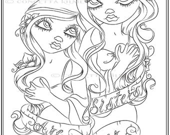 Adult Coloring Page -Sister Coloring Page - Tattoo Art Coloring Page - Sister Gift - Sister Coloring - Coloring Page - Fantasy Art Coloring