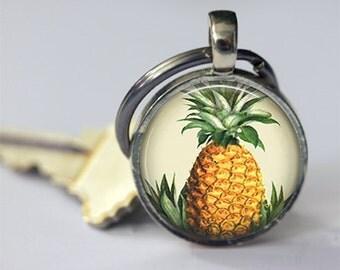 ON SALE Pineapple Keychain Hawaiian Tropical Fruit Hawaii Symbol of Hospitality Welcome Key Chain Key Fob Car Accessories