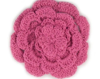 "3"" Four Level Fuschia Crochet Flower"