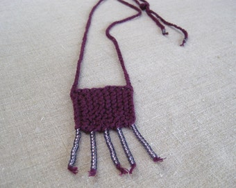 Linen Fiber Necklace with Seed Beads in Deep Plum