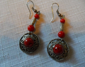 Vintage Red Coral Earrings