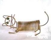 Vintage Cat Letter Holder Gold Wire Memo Holder Mail Organizer Kitten