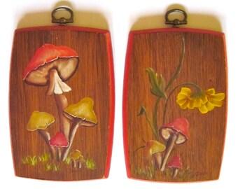 Mushroom Paintings Original Art Woodland Red Yellow Retro Wall Hangings Hand Painted Signed 1970s Set of 2