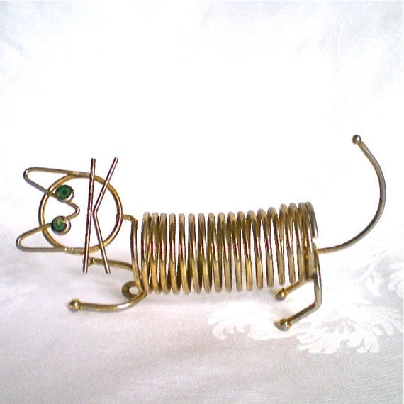 Vintage cat letter holder gold wire memo by vintagedottirose for Gold letter rack
