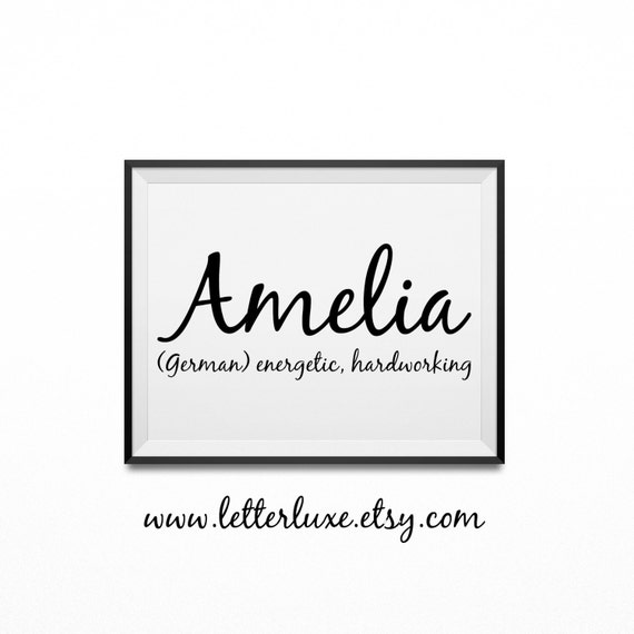Items similar to Amelia Baby Name Meaning Print, Printable ...