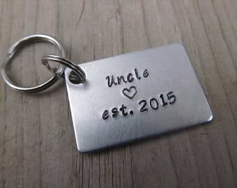 """Gift for Uncle- Keychain- Uncle's Keychain """"Uncle est. (year of choice)"""" with stamped heart-  Hand-Stamped Keychain by Jenn Stewart"""