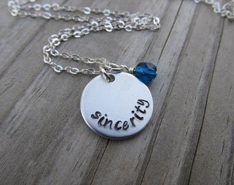 "Sincerity Inspiration Necklace- ""sincerity"" with an accent bead of your choice- Hand-Stamped Necklace by Jenn's Handmade Jewelry"