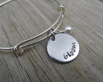"Bloom Inspiration Bracelet- Hand-Stamped ""bloom"" Bracelet with an accent bead in your choice of colors- Hand-Stamped Jewelry"