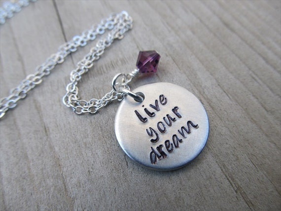 """Graduation Necklace, Inspiration Necklace- """"live your dream"""" with an accent bead in your choice of colors- Hand-Stamped Jewelry"""
