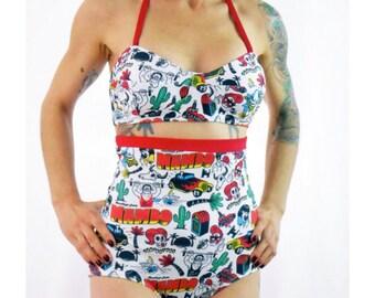 Extra High Waist Retro Bikini Rockabilly Print XS-XXL High Waist Bikini