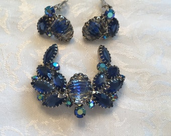 Vintage Blue Rhinestone and Art Glass Stones Brooch and Earrings
