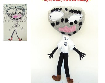 Softie zombie doll Turn kids drawings into real plush toys Personalized doll from artwork - MADE TO ORDER