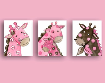 pink brown nursery art - giraffe art prints - baby girl nursery art - children art -  nursery wall art decor