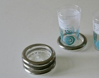 Vintage Leonard Italy, Glass Silverplate Coasters,, Starburst Cut Glass