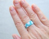 Turquoise and White Polka Dot Seed Bead Ring  Casual Jewelry Peyote Ring  Glass Beaded Ring   Polkadot Jewelry  Summer Jewelry
