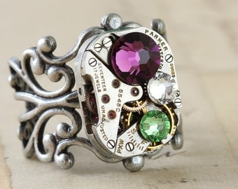 Mothers Ring Statement Ring Personalized Jewelry Birthstone Ring Steampunk Ring Custom Made Jewelry Watch Ring Personalized Ring