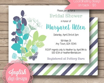 Silhouette Leaf Bridal Shower Invitation, Printable Bridal Shower Invitation, Leaf Bridal Shower Invite in Turquoise, Green, Teal, Blue
