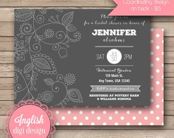 Floral Bridal Shower Invitation, Printable Bridal Shower Invitation, Floral Bridal Shower Invite - Folksy Floral in Gray, White