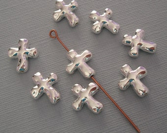 20 Pcs- Cross Bead Charm Pendant Silver Plated for Jewelry Making.