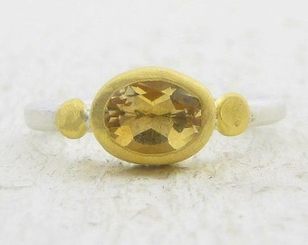Citrine Ring - 24k Solid Gold & Silver Ring - Citrine Stacking Ring - Gemstone Ring - Gold Citrine Ring