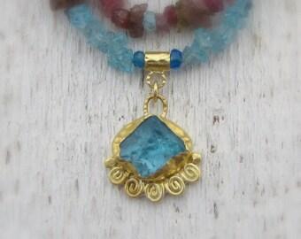 Apatite, Tourmaline & 24k gold Necklace - Colorful Gold Necklace - Rough Apatite Necklace - Statement Necklace