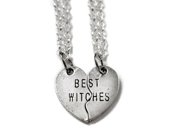 Gift For Her, Best Witches Necklace, Best Friend Gift, Heart Jewelry, Girlfriend Jewelry, Witch Necklace, Friendship Necklace