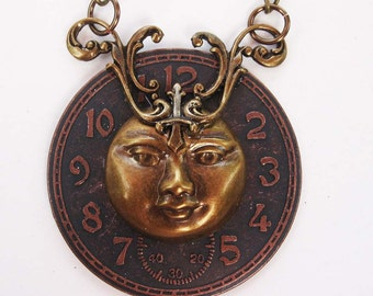 "Moon Face and Clock dial Necklace Victorian Steampunk Brass with 24"" chain"