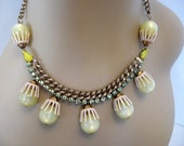 Vintage Rhinestone, Cabochon, Moonglow Bead, Enamel Necklace