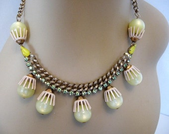 Vintage Rhinestone, Cabochon, Moonglow Bead, Enamel Necklace