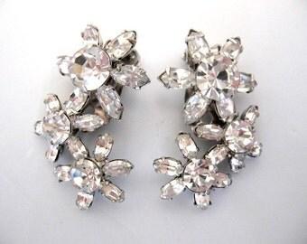Vintage Large Clear Rhinestone Flower Earrings - Wedding Bridal Bridesmaid