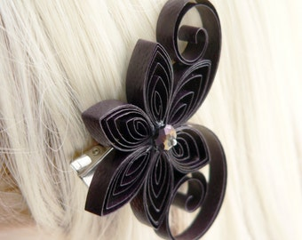 Plum Flower Clips, Eggplant Purple Wedding Hair Clip, Plum Wedding Hair Accessory, Dark Purple, Plum