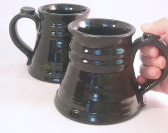 12 oz.Tankard, Stein, Coffee Mug - Handmade Pottery Glazed in Black
