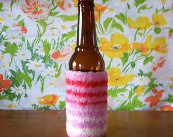Felted Bottle Cozy - Valentine's Day Stripes - Pink & Red