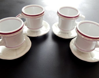 4 Antique French Bistro Cups  Authentic Heavy Cups with Saucers Brulot