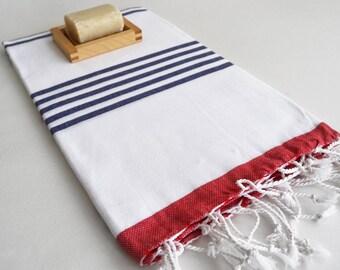 SALE 50 OFF/ Turkish Beach Bath Towel / Classic Peshtemal / Red - Navy Blue / Wedding Gift, Spa, Swim, Pool Towels and Pareo