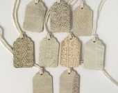 """9 Small Gift Tags  - 1.5"""" x 15/16"""" All Recycled Materials - White Lace, Vintage, Antique Style"""