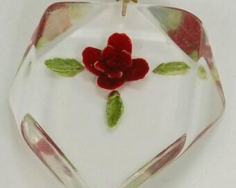 Vintage Reversed Carved Lucite Rose Pendant