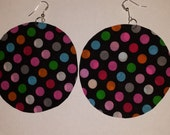 "RESERVED FOR D ONLY  firework colorful polka dot black midnight fabric print dangle earrings basketball wives blue white Big 3"" round"