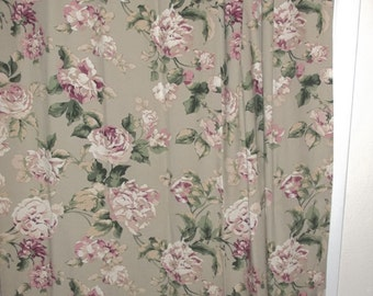 Vintage Home Decorator Fabric Floral Curtain Panel Sage Floral